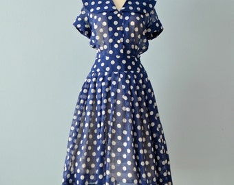 Vintage 1950s Day Dress...JEAN LANG Sheer Navy and White Polka Dot Day Dress
