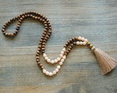 Mala necklace, wooden mala, yoga necklace, 108 mala beads, long tassel necklace, japa mala