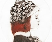 Etching / limited edition original etching (printmaking / graphic art) / original print / original art / bird etching - 'Girl and a Bird 2'