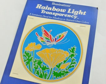 Illuminations Rainbow Light Transparency Stained Glass Window Decal Butterfly and Poppy 1979