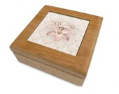 Wooden Keepsake Box with decorative tile inset, mother's day gift, floral jewelry box, memory box, pink lilies, trinket box, wood box