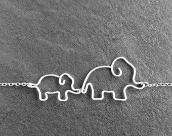Mom Jewelry - Mother and Baby Elephant Necklace - Mommy and Baby Elephant Jewelry, New Mother Gift