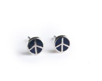 Vintage Lapis Peace Sign Sterling Silver Post Earrings