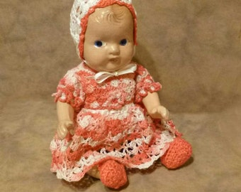 Vintage Baby Doll With Hand Crocheted Outfit