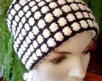 Womens Wide headband black and white head wrap
