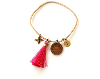 custom initial charm bangle bracelet with hot pink tassel and wheat penny good luck charm and bee . your initial bracelet . monogram bangle