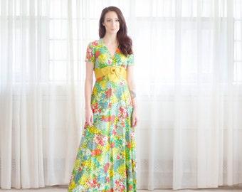 Floral 60s Dress - Vintage 1960s Maxi Dress - La Rona Dress
