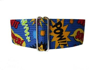 Super Hero Martingale Collar, Super Hero Dog Collar, Side Release Dog Collar, 1.5 Inch Martingale Collars, Pow, Slam, Zoom, Greyhound Collar