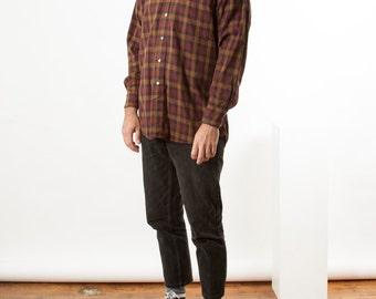 Brown Plaid Shirt / Long Sleeve Flannel Button Up / Fall Warm Shirt