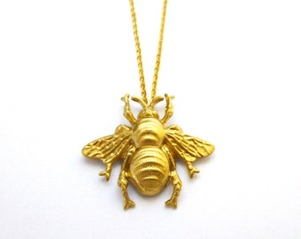 Gold Bee Necklace Bumblebee Jewelry Insect Pendant Nature Lover Charm Honey Keeper Garden Woodland Forest Unique Womens Gift For Her Spring