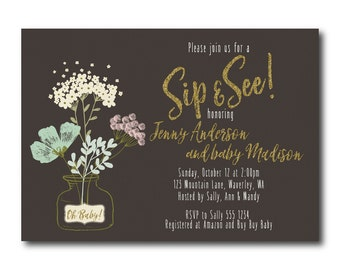 Floral Sip and See Baby Shower Invitation,  Flower vase Shower Invitation, Meet and Greet, Digital Printable Invitation 0533