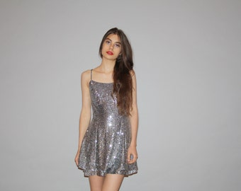 Vintage 1990s Silver Disco Ball Short Mini Sequined Skater Prom Party Sequin Dress  - Vintage Sequined Dresses  - WD0830