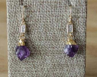 Gold Rough Amethyst Point Crystal Drop Earrings/ Dangle Statement Delicate Gemstone Gold Earrings/ Chandelier Dangle Statement (EEF14-AM)