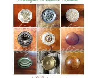 ANTIQUE DRAWER KNOBS - Instant Download Digital Printable squares circles clip art collage sheet  -Bottlecaps, decoupage, paper crafts more