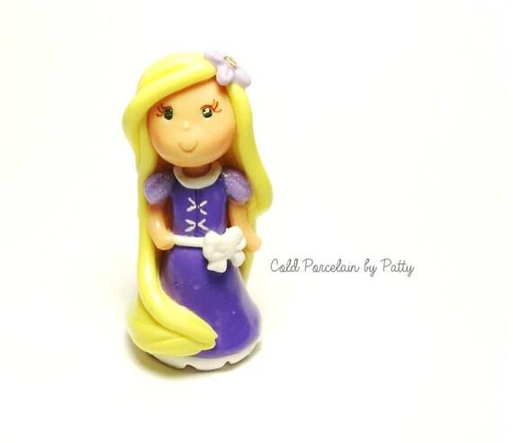 Rapunzel Clay Figurine - Clay Princess Cake Topper, Cupcake Topper, Keepsake, Pendant, Rapunzel Ornament, Gift, Cold Porcelain Clay Rapunzel