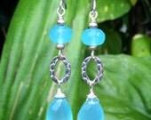Blue Chalcedony Sterling Silver Earrings,Sterling Silver Blue Chalcedony Earrings,Gemstone Briolette Earrings,Gemstone Silver Drop Earrings,