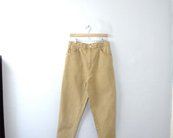 Vintage 80's high waisted yellow tan jeans, mom jeans, tapered leg, size 16 / 14, plus sized
