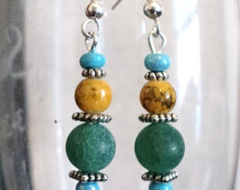 Dangle Earrings, Gemstone Earrings, Green Jade, Dragon Vein, Turquoise, Traditional Earrings - LATE SUMMER BREEZE