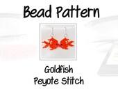 Goldfish Design Pattern, Peyote Brick Stitch Bead Jewelry | Digital Download