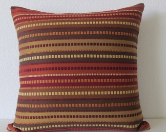 Chenille Textured Stripes - Burnt Tones - 18x18 - Pillow Cover