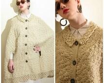 Vintage 1970s Crochet Cape / 70s Buttown Down Knit Cape in Cream