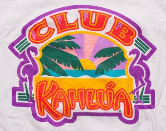 Club Kahlua T-Shirt, Tropical Beach Sunset Logo Graphic Tee, Vintage 90s