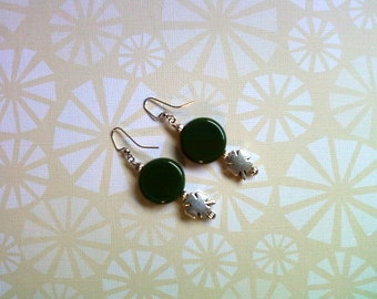 Green and Silver St. Patricks Day Earrings (1925)