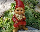 Vintage Gnome Statue Smiling Smoking A Pipe & Sitting On A Tree Stump, Red Garden Decor, Christmas Collectible