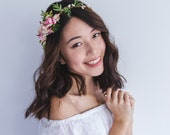 blossom and leaf asymmetrical bridal wedding flower crown // Fleurette - creamy pink & pink / bohemian floral headpiece flower crown