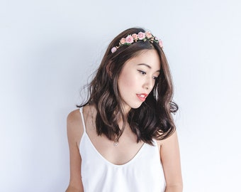 pink and peach rose berry leaf headband / pink / wedding bridal rustic floral headpiece pastel spring garden romantic whimsy woodland
