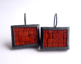 Mosaic Earrings - Rectangular Earrings - Red Jasper Oxidized Silver - Ready To Ship