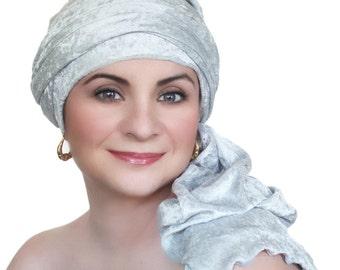 Silver Gray Velvet Turban, Head Wrap, Chemo Hat, Alopecia Scarf, Hijab, One Piece Wrap 332-12