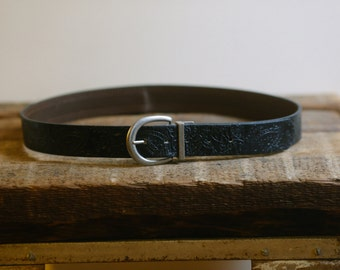 35-39 Embossed Men's Black Leather Belt with Silver Buckle