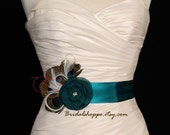 Peacock Feather Flower Bridal Sash Belt, Teal Bridal Belt, Teal Bridal Sash, Teal Wedding Belt, Bridal Accessories - Rhapsody