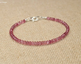 Pink Tourmaline Bracelet, Pink Tourmaline Jewelry, October Birthstone, Gemstone Jewelry