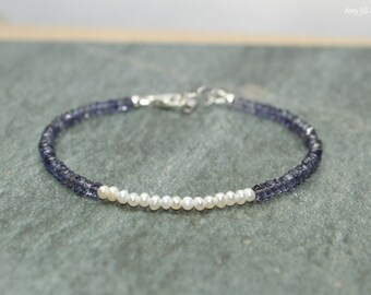 Freshwater Pearl and Iolite Bracelet, June Birthstone, Something Blue, Iolite Jewelry, Gemstone Jewelry
