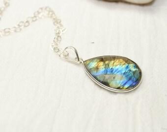 Labradorite Necklace, Labradorite Bezel Set Pendant, Sterling Silver Chain, Blue Flash, Labradorite Jewelry