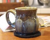 Large Coffee Cup Tea Cup Mug Hand Thrown Stoneware Mug Faceted Large Capacity Cup Amber and Blue