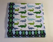 New! Handmade Flannel Baby Blanket - Alligators on Parade and Argyle - Reversible Baby Blanket, Baby Shower Gift, Receiving Blanket