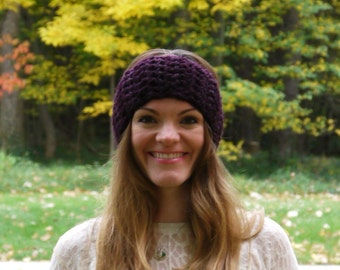SALE - Crochet Simple Headband / EGGPLANT