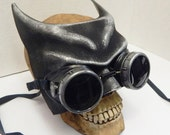 Steampunk Mask - 2 pc. Distressed Silver Pewter Half Face Steampunk 'BATMAN' MASK with Matching Steampunk GOGGLES - Burning Man Mask