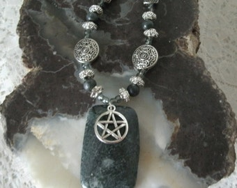 Serpentine Pentacle Necklace, wiccan jewelry pagan jewelry wicca jewelry witchcraft witch metaphysical druid pentagram celtic necklace
