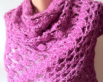 CLEARANCE SALE! Crochet Fuchsia Shawl Crochet Shawl Shoulder Wrap Festival Shawl Women Fashion Accessories Prayer Shawl Free Shipment