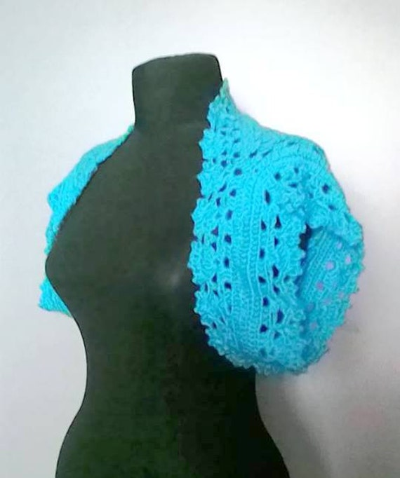 CLEARANCE SALE! Crochet Turquoise Shrug Bolero Mini Bolero Festival Fashion Women Clothing Fashion Accessories Gift For Her   Free Shipment
