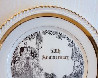 Vintage 50th Anniversary Plate, Wedding Anniversary, Golden Anniversary, 50th Anniversary Gift, Elegant Wedding, Bride Groom Transferware