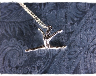 Silver Leaping Ballerina Necklace - Sterling Silver Leaping Ballerina Charm on a Delicate Sterling Silver Cable Chain or Charm Only