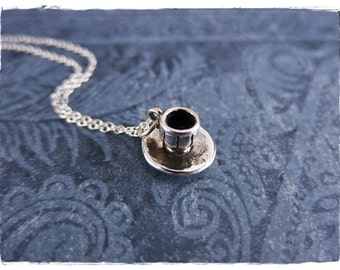Silver Cup and Saucer Necklace - Sterling Silver Cup and Saucer Charm on a Delicate Sterling Silver Cable Chain or Charm Only