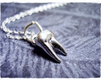 Silver Tooth Necklace - Sterling Silver Tooth Charm on a Delicate Sterling Silver Cable Chain or Charm Only