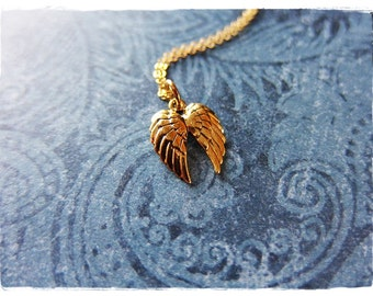 Gold Angel Wings Necklace - Bronze Angel Wings Charm on a Delicate 14kt Gold Filled Cable Chain or Charm Only