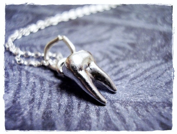 Tiny Silver Tooth Necklace - Sterling Silver Tooth Charm on a Delicate Sterling Silver Cable Chain or Charm Only
